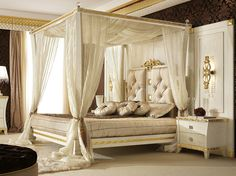 Canopy bed with upholstered headboard GOLD