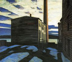 lawren harris-elevator-court-halifax, Canadian Group of Seven Tom Thomson, Emily Carr, Canadian Painters, Canadian Artists, Group Of Seven Paintings, Ontario, Vancouver, Industrial Paintings, Jackson