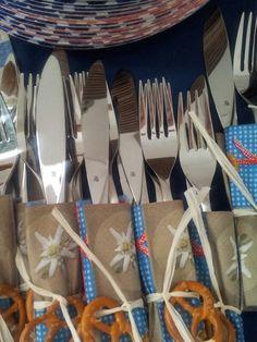 Oktoberfest: pretzel and ribbon to tie up the silverwear http://www.oktoberfesthaus.com