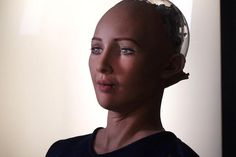 """Cameras in Sophia's eyes and a computer algorithm allow her to """"see"""" faces and make eye contact."""