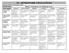 blooms taxonomy homework grid for primary students google search homework grid pinterest. Black Bedroom Furniture Sets. Home Design Ideas