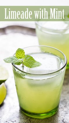 Limeade with Mint ~ Refreshing limeade served with sprigs of mint ...