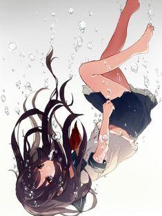Manga Mädchen in Schuluniform versinkt in Wasser ... Wasserblasen ... Blick nach oben