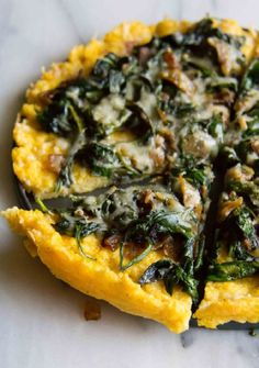 Polenta Tart with Asiago Spinach. The PERFECT side dish for dinner. Polenta Tart with Asiago Spinach. Vegetarian Recipes, Cooking Recipes, Healthy Recipes, Vegan Polenta Recipes, Good Food, Yummy Food, Tasty, Food And Drink, Favorite Recipes