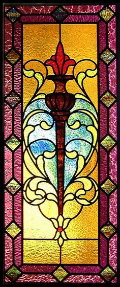 Torch and Scrollwork Stained Glass Window