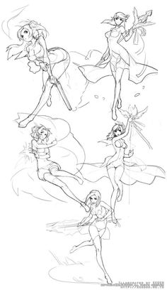 Magical girl action poses
