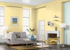 This is the project I created on Behr.com. I used these colours: RISE AND SHINE(P300-4),SPARKLING BROOK(M420-1),RITE OF SPRING(P300-3),SERENE THOUGHT(P470-2),ULTRA PURE WHITE�(PR-W15),