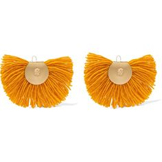 Katerina Makriyianni Hand Fan gold-tone wool earrings ($135) ❤ liked on Polyvore featuring jewelry, earrings, gold, gold colored jewelry, goldtone jewelry, earring jewelry, gold colored earrings and long earrings