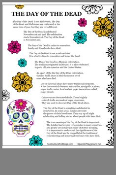 Day of the Dead facts help kids understand the true significance of the celebration. Free printable of 10 facts kids should know in Spanish or English. Spanish Lessons For Kids, Spanish Basics, Spanish Activities, Spanish Teacher, Spanish Classroom, Teaching Spanish, Elementary Spanish, Efl Teaching, Art Classroom