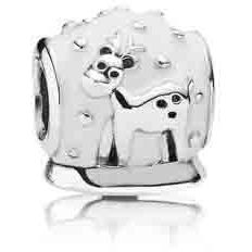 """A loveable version of the traditional """"Snow Globe"""", this charm is a perfect gift for the holidays. Add simplicity and purity to your bracelet and make it a Merry Christmas! A true collector's item made in sterling silver an d white enamel, with the words """"Merry Christmas"""" engraved on the bottom.  791228EN12"""