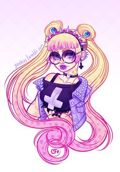 ✝Pastel Goth Usagi✝ Finished!  Original color sketch HERE  T-shirts, Prints, etc on ★My Society6 Store★:  ★Glasses OFF: ★[Print]★ [Shirt] ★  ★Glasses ON: ★[Print] ★ [Shirt]★  *Important: Products on the store does not contain the link written on the image*  I decided to do both and post both since you guys/gals had pretty even opinions.