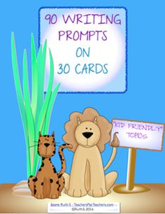 """More of my """"kid friendly"""" journal prompts! Who wouldn't love writing about the time you took an elephant to school? Or explain what happened the day a little alien knocked on your door. Fun! 90 prompts on 30 cards!"""