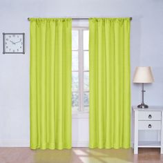 Eclipse Kids Kendall Blackout Thermal Curtain Panel,Lime,84-Inch - Top Blackout Curtains