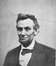 """The last photo of Abraham Lincoln taken alive. Notice the crack - in 1865 glass negatives were used. The photographer, Alexander Gardner, didn't bother retaking the photo because Lincoln had just been elected to a second term and Gardner figured """"There would be plenty of opportunity to photograph Lincoln again"""""""