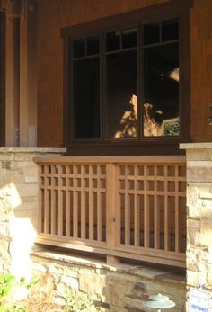 Railing for between the pilasters on the front porch... painted white to match the window trim
