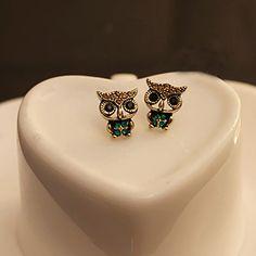 Hot Jewelry Lady Fashion Owl Rhinestone Gold Plated Cute Vintage Ear Stud Earrings  6Y2Y 7EHM BDTU