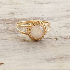 Spectacular Beauty !!  Gold cocktail ring, romantic and super delicate.  Very high quality 14K gold plated ring with moon stone -spectacular and delicate!