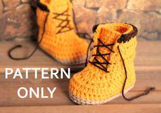 """Crochet PATTERN Baby Boys """"Woodsmen"""" Construction Boots Crochet Pattern, Yellow Crochet Baby Boots, street shoes PATTERN ONLY"""