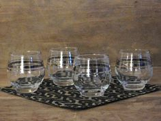 Roly Poly Cordial Glasses Silver Band Set of by LittleDixieVintage