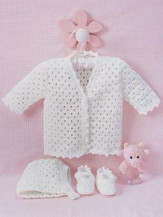 Lacy Set to Crochet | Yarn | Knitting Patterns | Crochet free baby Patterns cardigan jacket, hat bonnet booties