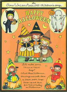 Joan Walsh Anglund Halloween paper doll craft page Vintage Halloween Cards, Halloween Paper Crafts, Halloween Doodle, Halloween Clipart, Happy Halloween, Halloween Stuff, 1960s Halloween, Halloween Banner, Halloween Images