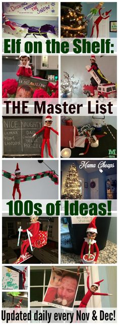 This is THE master list of ELF ON THE SHELF IDEAS to follow!!    Updated daily throughout November and December since 2009!! Find more Elf on the Shelf inspired posts on MamaCheaps.com!