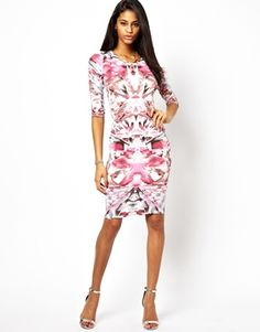 John Zack Midi Dress In Mirror Print