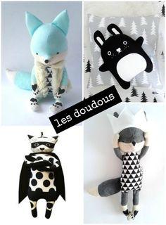 nos inspiration chambre bébé en noir blanc et mint. Avec des idées de doudous, de linge de lit, d'accessoires, d'affiches et d'inspiration chambre