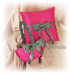 Fuchsia and Pewter Wedding Pillow Basket - Fuchsia Pink and Grey Ring Bearer Pillow Flower Girl Basket - Wedding Ceremony Decor on Etsy, $65.00