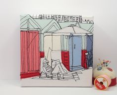 Bathing Beach Huts Embroidery Art Canvas by gillianbates
