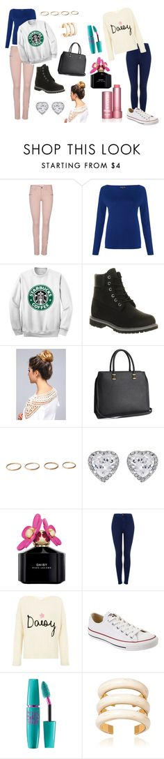 """""""Starbucks"""" by bethaniee2012 ❤ liked on Polyvore featuring ONLY, Jigsaw, Timberland, H&M, JouJou, Marc Jacobs, Topshop, Converse, Maybelline and Aurélie Bidermann"""