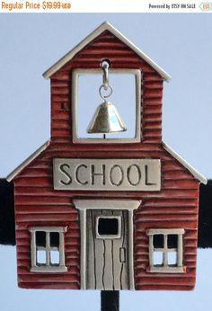 ❘❘❙❙❚❚ ON SALE ❚❚❙❙❘❘   www.dianakirkpatrickart.etsy.com  Vintage Designer School House Brooch Signed JJ - Red…