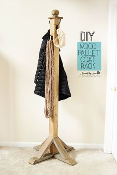 My dad would love this! Perfect for hanging up clothes for next day! How to Make a Wood Pallet Coat Rack Diy Furniture Projects, Pallet Furniture, Diy Projects, Repainting Furniture, Pallet Beds, Furniture Movers, Furniture Stores, Pallet Crafts, Wood Crafts