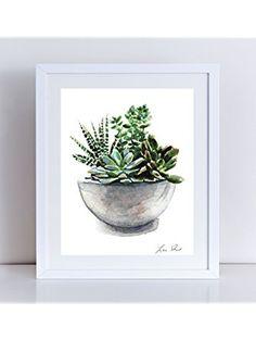 Green Succulent Cactus Arrangement Giclee Print of Original Watercolor Painting 8 x 10, 11 x 14 inches Terrarium House Plant Jade Plant Moss Spring ❤ ...