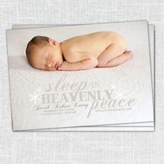 Jacob Christmas Card/Birth Announcement (Sleep in Heavenly Peace, Snowflakes, Christmas baby announcement, 5x7, digital file) on Etsy, $15.00