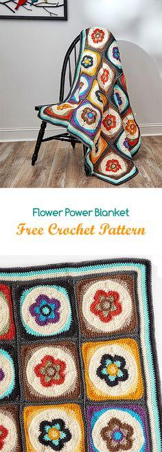Flower Power Blanket Free Crochet Pattern #crochet #yarn #crafts #homemade #homedecor #handmade