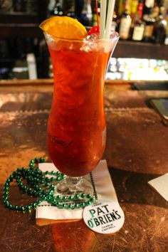 The Hurricane at its original home: Pat O Briens in New Orleans Bourbon Street, Fun Drinks, New Orleans, How To Memorize Things, Usa Travel, Louisiana, Drinking, Lost, Vacation