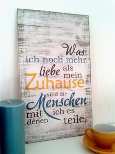 Minha casa - Home - Poster - Ideen German Quotes, House And Home Magazine, True Words, Wooden Signs, Cool Words, Hand Lettering, Quotations, Sweet Home, Shabby