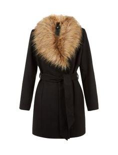 Schwarzer Mantel mit Kunstpelzkragen und Gürtel   New Look