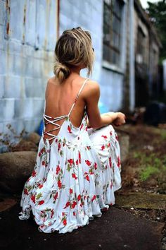 Floral Backless Dress For Summer