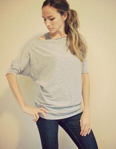 DIY: men's shirt into dolman tee