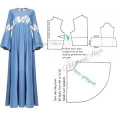 Discover thousands of images about Long dress pattern in lace. Abaya Fashion, Muslim Fashion, Diy Clothing, Sewing Clothes, Dress Sewing Patterns, Clothing Patterns, Hijab Styles, Abaya Pattern, Blog Couture
