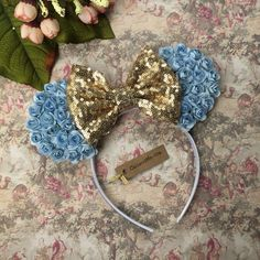 Cinderella Mouse Ears, Princess Cinderella Mouse Ears, Cinderella Birthday Party Ears, Cinderella Disney Mouse Ears, Vacation Ears by CaliandMeBoutique on Etsy https://www.etsy.com/listing/515516443/cinderella-mouse-ears-princess