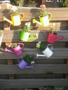 Gekleurde gietertjes gebruikt als plantenbak