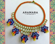 Mexican Huichol Beaded Orange and Red Flowers Necklace Mexican necklace - Mexican Jewelry - Huichol Necklace - Huichol beadwork Beaded Choker Necklace, Seed Bead Necklace, Tribal Necklace, Multi Strand Necklace, Flower Necklace, Seed Beads, Beaded Jewelry, Jewelry Bracelets, Necklaces