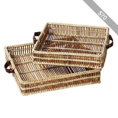 Serena & Lily Natural Woven Trays – Set of 2