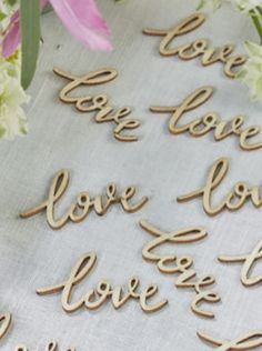Natural wooden 'Love' table confetti in scripted font. Ideal for dressing tables at wedding receptions, flower centre pieces, on place cards, garlands or wreaths. Table Confetti, Wedding Confetti, Tove Love, Centre Pieces, Floral Centerpieces, Love S, Boho, Cake Toppers, Garland