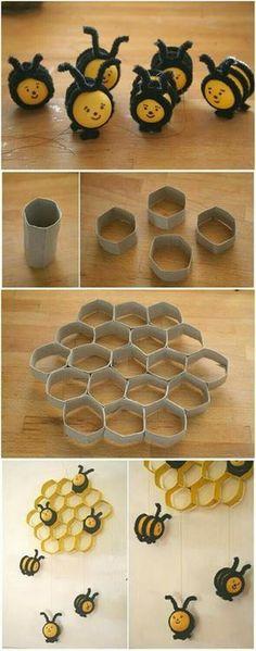 Des petites #abeilles toutes mignonnes fabriquées avec des rouleaux de papier toilettes  #enfants #recyclage