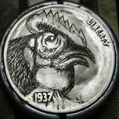 CHRISTOPHER STINNETT HOBO NICKEL - ROOSTER - 1937 BUFFALO NICKEL Hobo Nickel, Antique Coins, Paper Cutting, Jewelry Collection, Buffalo, Rooster, Cactus, Carving, Concept