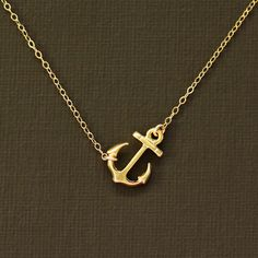 Gold Anchor Necklace 14K Gold Filled Chain by NinaKuna on Etsy